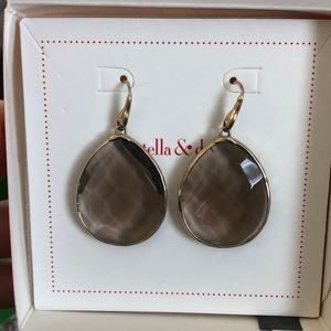 Serenity Stone Drop Earrings - Smokey